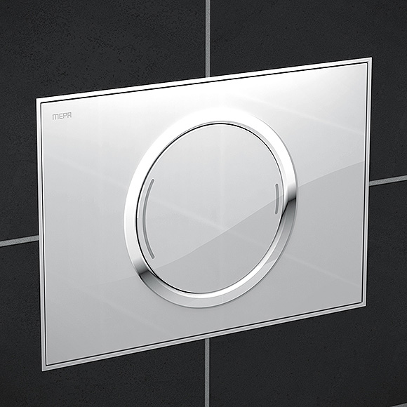 MEPA Zero flush plate with designer surface, with dual flush system white glass