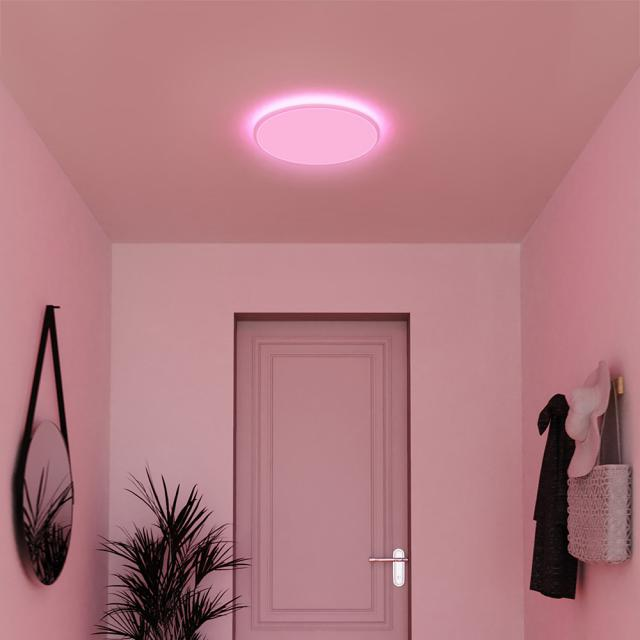 MÜLLER-LICHT tint Loris white+color RGBW LED ceiling light with dimmer, round