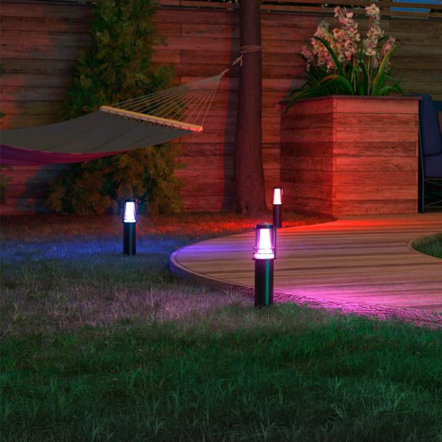 MÜLLER-LICHT tint Petunia white+color RGBW LED pedestal light with dimmer, set of 3