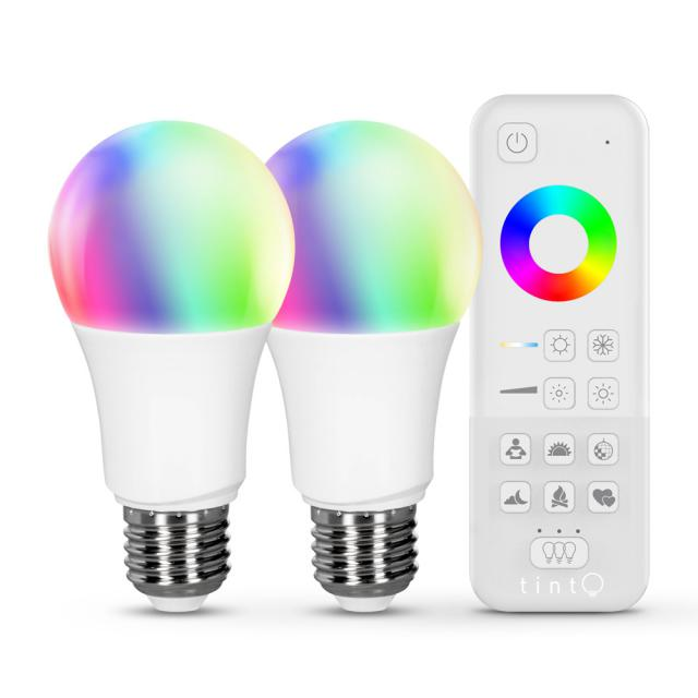 MÜLLER-LICHT tint starter set LED white+color E27, double pack with remote control