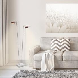 Näve Wood Satin LED floor lamp with dimmer, 2 headed