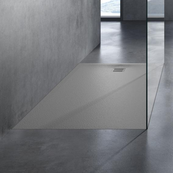 neoro n50 square/rectangular shower tray complete set textured grey, with anti-slip surface
