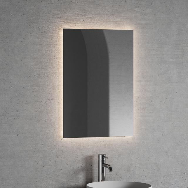 Neoro n20 illuminated mirror, rectangular with indirect LED lighting