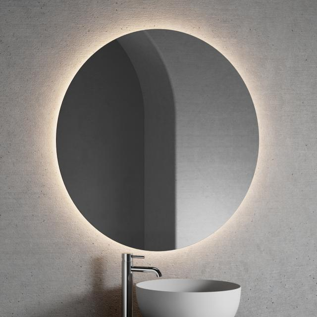 Neoro n20 illuminated mirror, round with indirect LED lighting