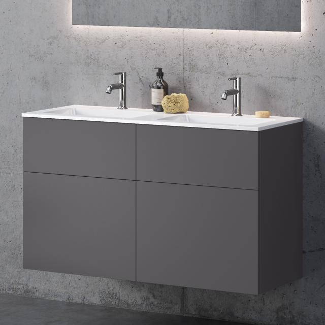 neoro n50 double washbasin rectangular with vanity unit with 4 pull-out compartments front matt graphite / corpus matt graphite, WB white