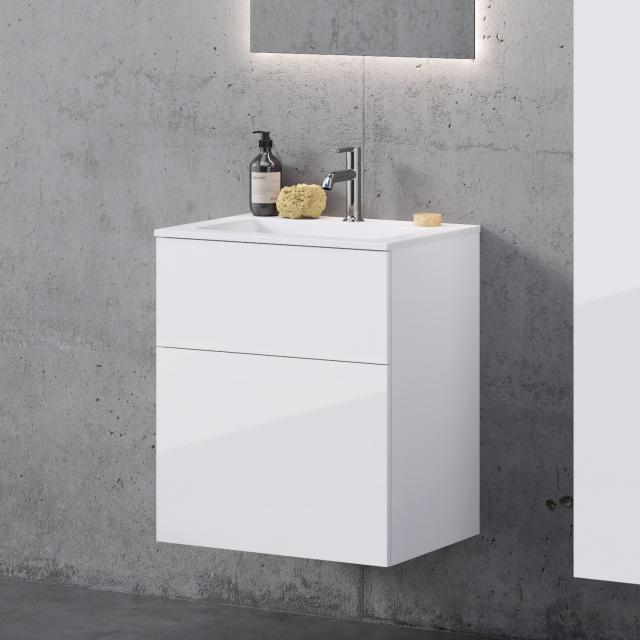 neoro n50 washbasin rectangular with vanity unit with 2 pull-out compartments front white high gloss / corpus white high gloss, WB white