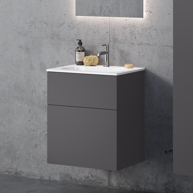 neoro n50 washbasin softcube with vanity unit with 2 pull-out compartments front matt graphite / corpus matt graphite, WB white