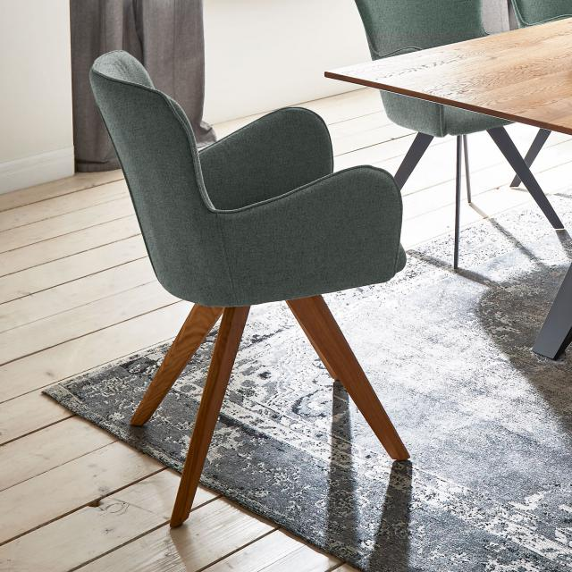 Niehoff AVALON chair with armrests and solid wood base