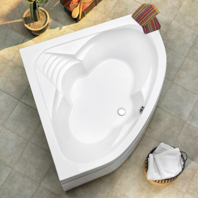 Ottofond Cascade corner bath, built-in with leg frame