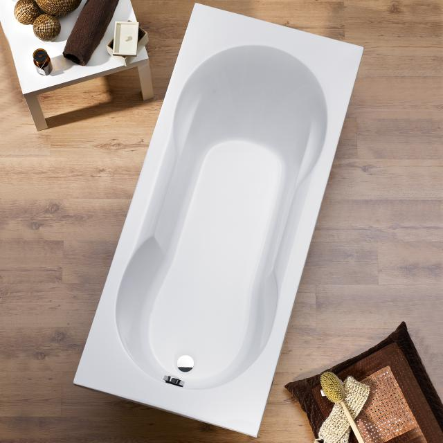 Ottofond Viva rectangular bath with shower zone, built-in with bath support