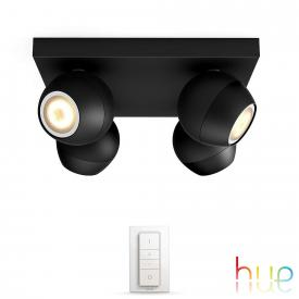 Philips Hue Buckram ceiling spotlight 4 heads with dimmer