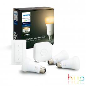 Philips Hue White Ambiance starter set of 3 with bridge and dimmer switch, E27, 9.5 Watt