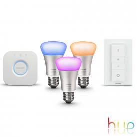 Philips Hue White and Color starter set of 3 with bridge and dimmer switch, E27, 10 Watt