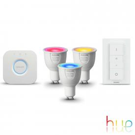 Philips Hue White and Color starter set of 3 with bridge and dimmer switch, GU10, 6.5 Watt