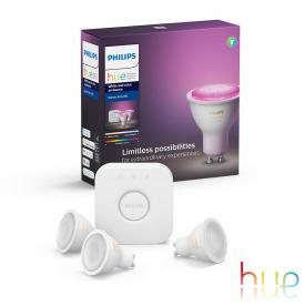 Philips Hue White and Color starter set of 3 with bridge and dimmer switch, GU10, 5.7 Watt