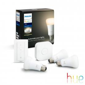 Philips Hue White starter set of 3 with bridge and dimmer switch, E27, 9.5 Watt