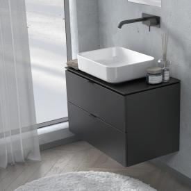 PREMIUM 100 console with vanity unit with 2 pull-out compartments front black silk matt / corpus black silk matt, matt black handle