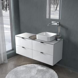 PREMIUM 100 Plan de toilette avec meuble sous-lavabo et 4 tiroirs Façade blanc ultra brillant/corps du meuble blanc ultra brillant, poignée noir mat
