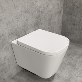 PREMIUM wall-mounted washdown toilet set, rimless, square, with toilet seat