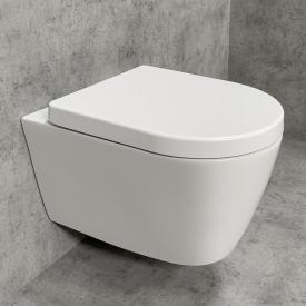 PREMIUM wall-mounted washdown toilet set, rimless, oval, with toilet seat