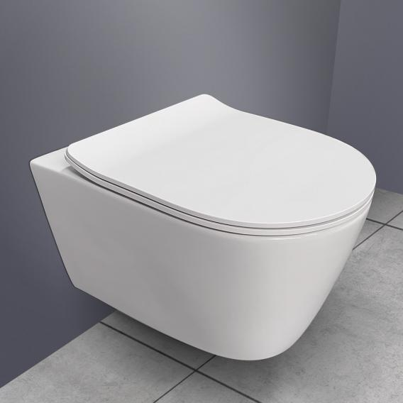 PREMIUM 100 wall-mounted washdown toilet, rimless, oval