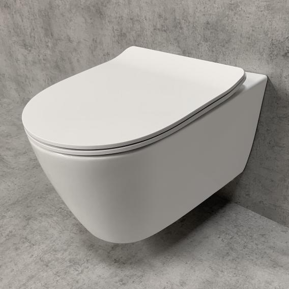 PREMIUM 100 wall-mounted washdown toilet set, rimless, oval, with slim toilet seat