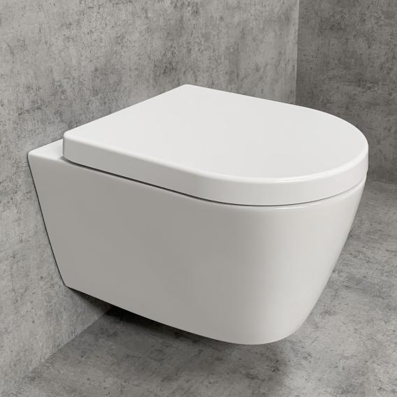 PREMIUM 100 wall-mounted washdown toilet SET, rimless, oval, with toilet seat