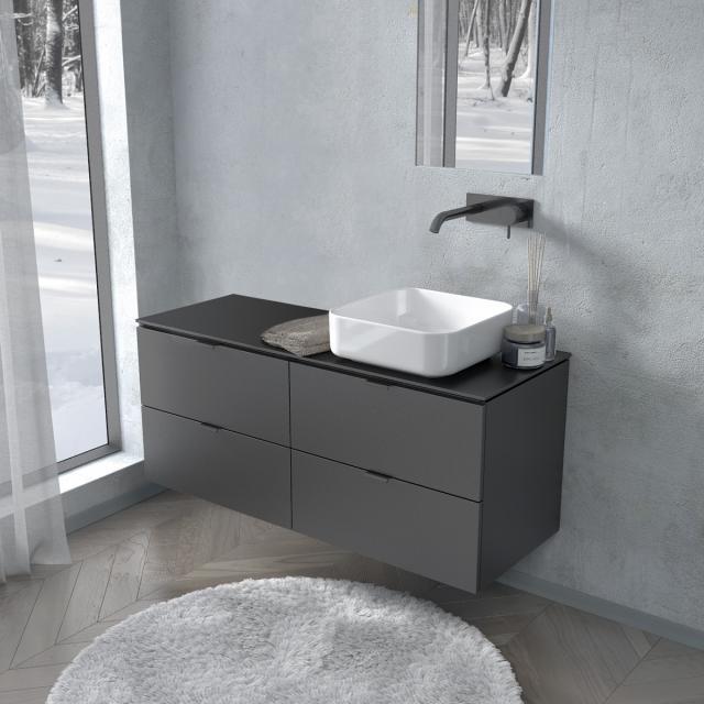 PREMIUM 100 console with vanity unit with 4 pull-out compartments front black silk matt / corpus black silk matt, matt black handle