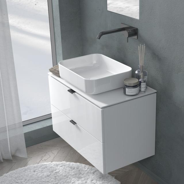 PREMIUM 100 console with vanity unit with 2 pull-out compartments front white high gloss / corpus white high gloss, matt black handle