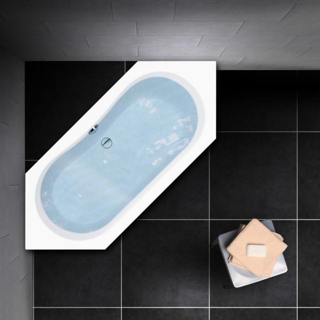 PREMIUM 100 hexagonal bath, built-in L: 180 cm, inside depth: 44.5 cm, width: 80 cm, inside depth: 44.5 cm