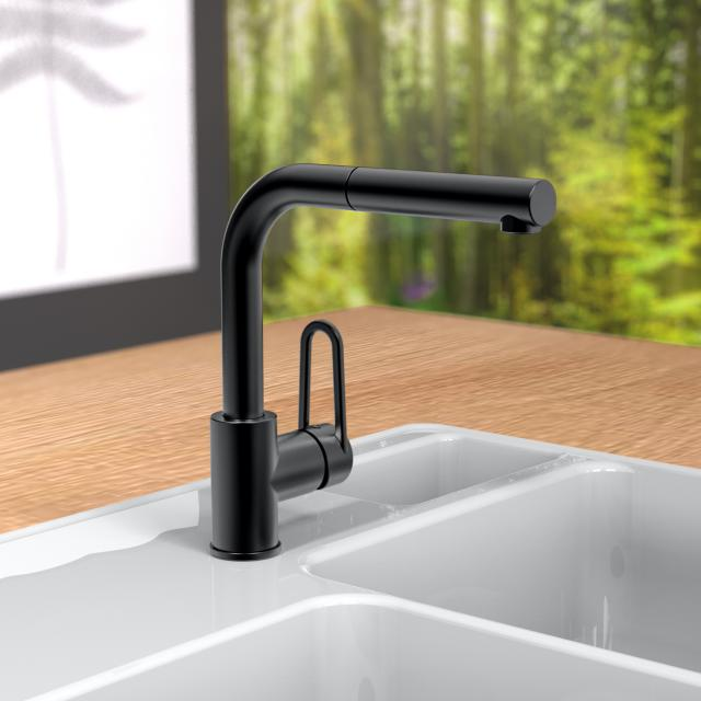 PREMIUM 100 single lever kitchen mixer with pull-out spout matt black