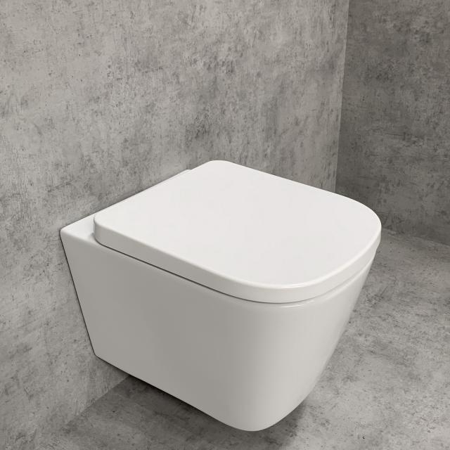 PREMIUM 100 wall-mounted washdown toilet SET, rimless, square, with toilet seat