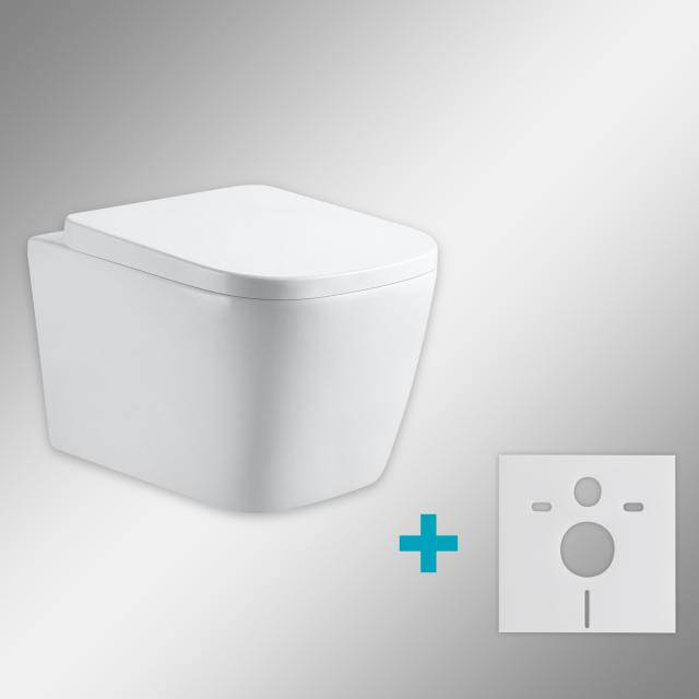 PREMIUM 100 wall-mounted washdown toilet SET with mounting accessories, rimless, square, with toilet seat