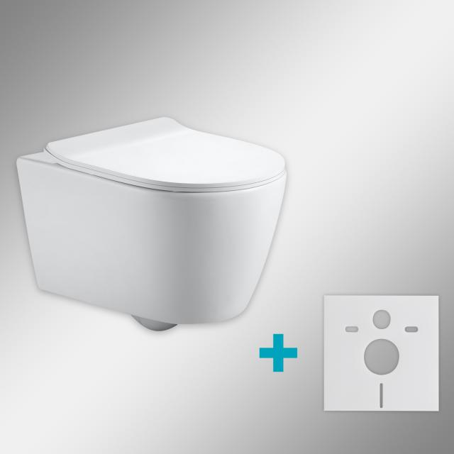 PREMIUM 100 wall-mounted washdown toilet SET with mounting accessories, rimless, oval, with slim toilet seat