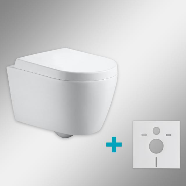 PREMIUM 100 wall-mounted washdown toilet SET with mounting accessories, rimless, oval, with toilet seat