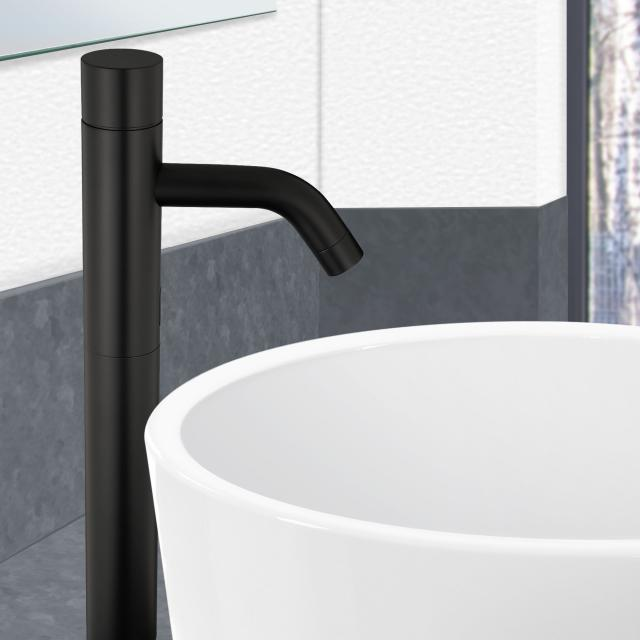 PREMIUM 500 electronic basin fitting with temperature control black, electric mains-powered