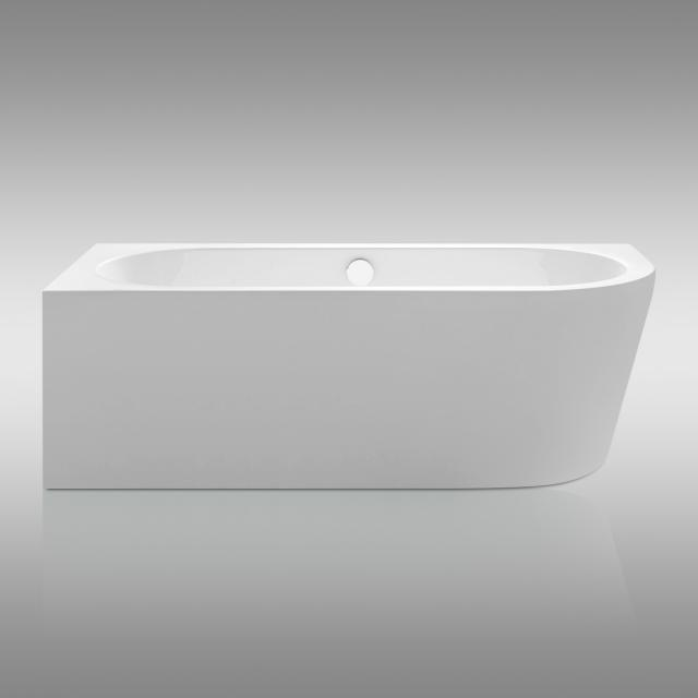 Repabad Livorno corner bath with panelling white, with filling function via overflow