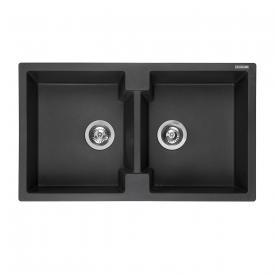 Reginox Amsterdam 20 kitchen sink with double basin metallic black