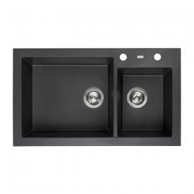 Reginox Amsterdam 25 kitchen sink with double basin metallic black