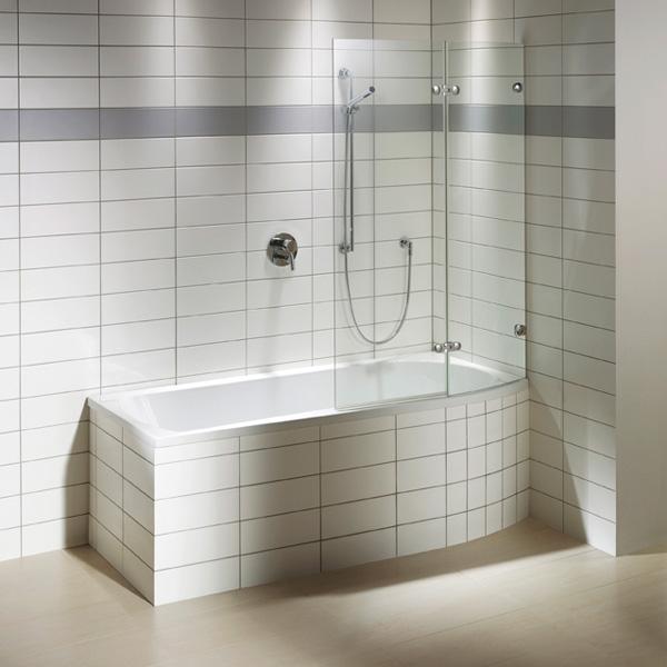Repabad Arosa Shower rectangular bath with shower zone, built-in white