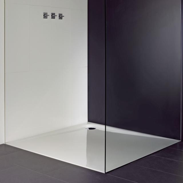 Repabad Como square/rectangular shower tray white, with RepaGrip