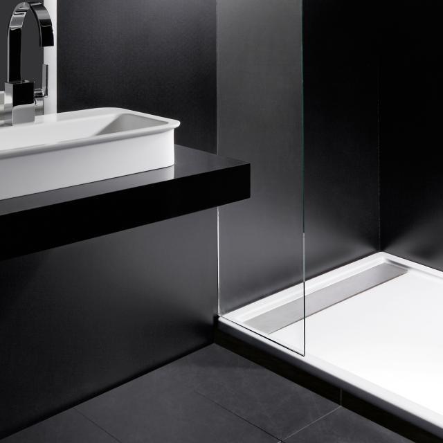 Repabad Zermatt square/rectangular shower tray white, with RepaGrip