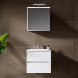 Riho Porto Slim washbasin with vanity unit and LED mirror cabinet front white high gloss / corpus white high gloss