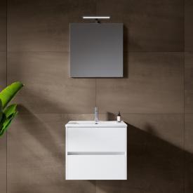 Riho Porto Slim washbasin with vanity unit and LED mirror front white high gloss / corpus white high gloss