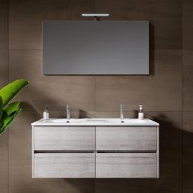 Riho Porto Square double washbasin with vanity unit and LED mirror front grey oak / corpus grey oak
