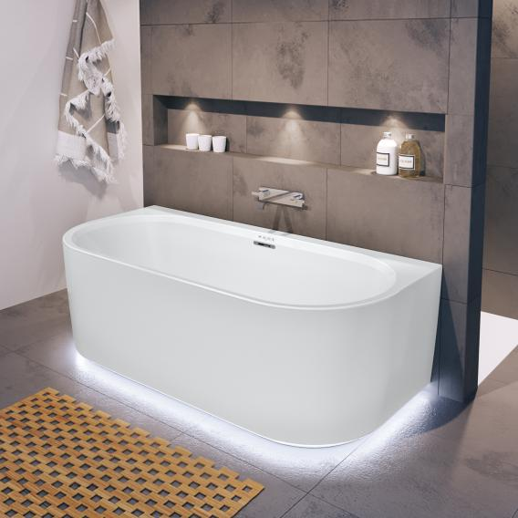 Riho Desire back2wall back-to-wall whirlbath with panelling and LED lighting matt white, without filling function