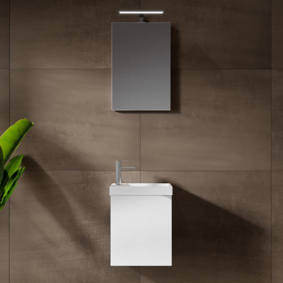 Riho Porto Fountain hand washbasin with vanity unit and LED mirror front white high gloss / corpus white high gloss