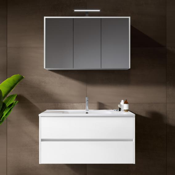 Riho Porto Square washbasin with vanity unit and LED mirror cabinet front white high gloss / corpus white high gloss