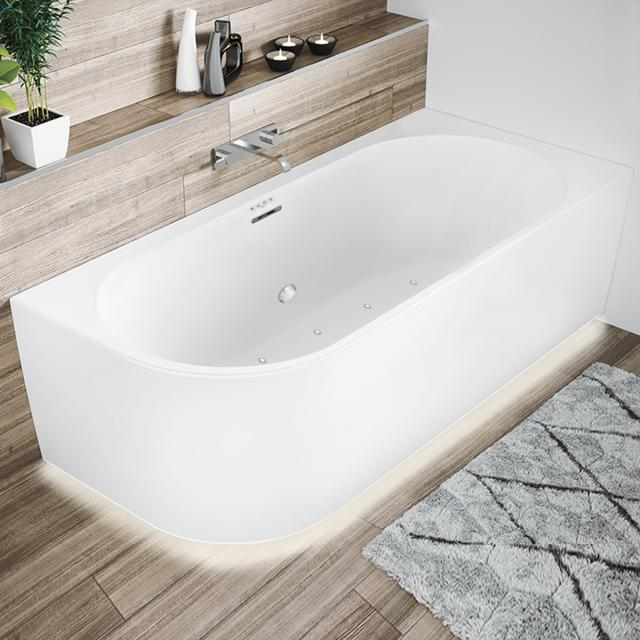Riho Desire Corner whirlbath with panelling and LED lighting matt white, without filling function