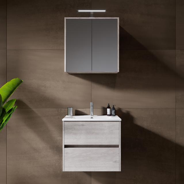 Riho Porto Slim washbasin with vanity unit and LED mirror cabinet front grey oak / corpus grey oak